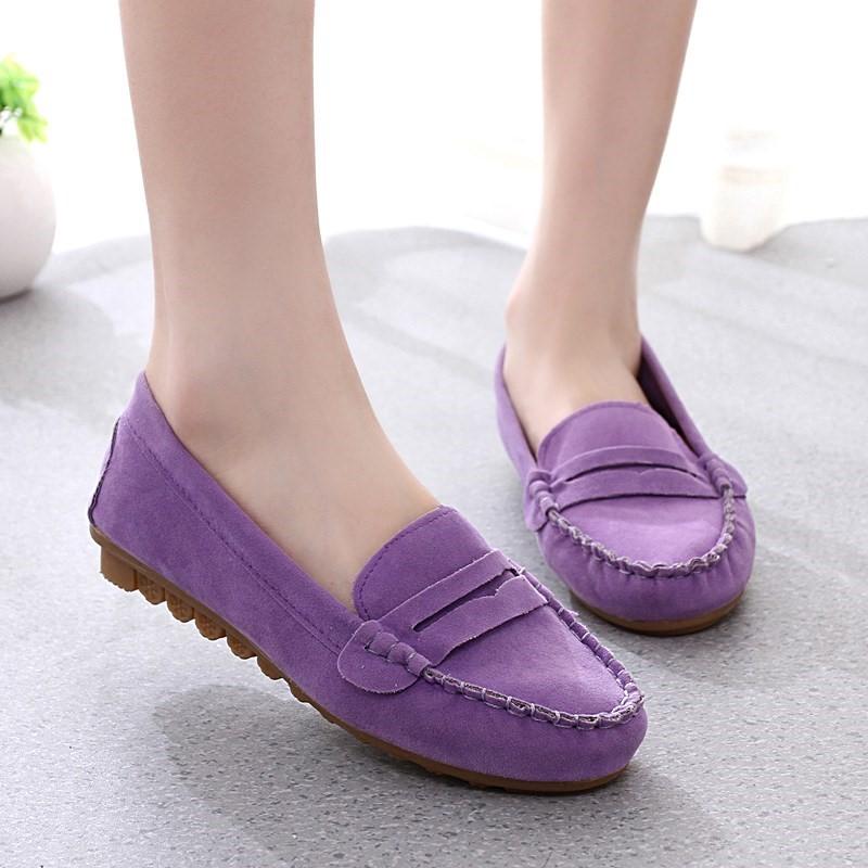 紫色豆豆鞋 15秋款紫色女鞋软底豆豆鞋平底懒人鞋女式休闲单鞋女韩版潮女生鞋_推荐淘宝好看的紫色豆豆鞋