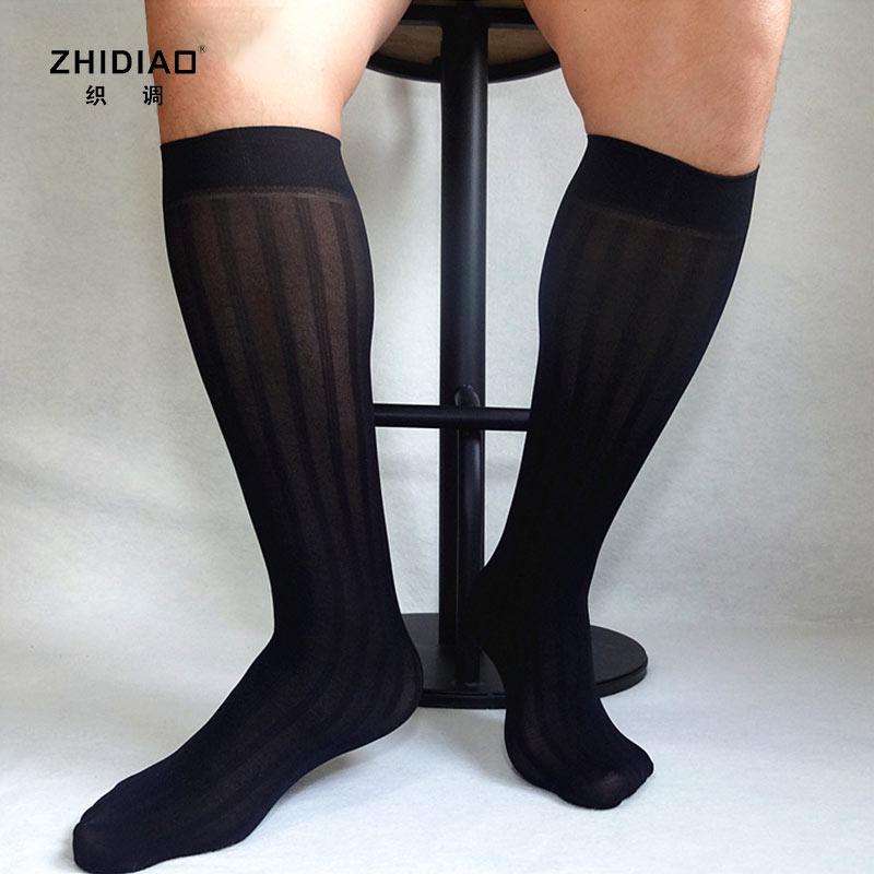 丝袜 织调男士正装高筒竖宽条纹日系黑色锦纶tnt性感丝袜 男士商务丝袜_推荐淘宝好看的丝袜