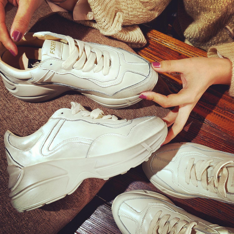 厚底鞋 新款ins超火的鞋子运动鞋女冬小脏鞋真皮厚底复古做旧老爹鞋女鞋_推荐淘宝好看的女厚底鞋