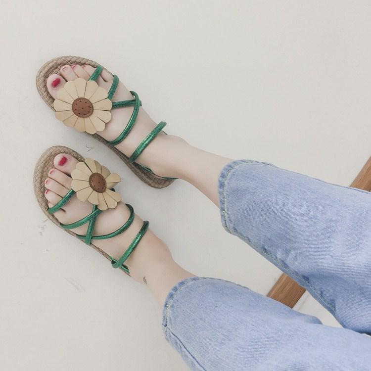 绿色凉鞋 凉拖鞋凉鞋平底凉鞋韩版时尚两穿波西米亚前后绊带米白色橡胶绿色_推荐淘宝好看的绿色凉鞋