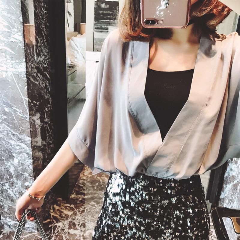 蝙蝠袖雪纺衫 2018夏季短款七分袖V领上衣宽松百搭蝙蝠袖雪纺衫纯色套头罩衫女_推荐淘宝好看的蝙蝠袖雪纺衫