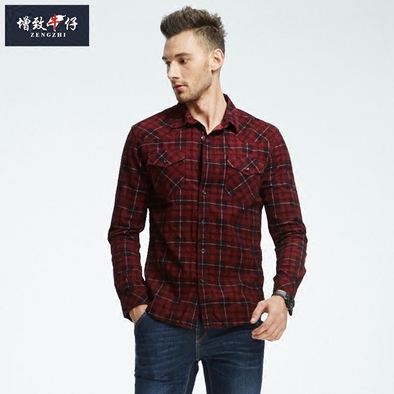 男士修身衬衫 2018春款增致牛仔男装长袖灯芯绒衬衣中年修身红色格子衬衫182004_推荐淘宝好看的男修身衬衫