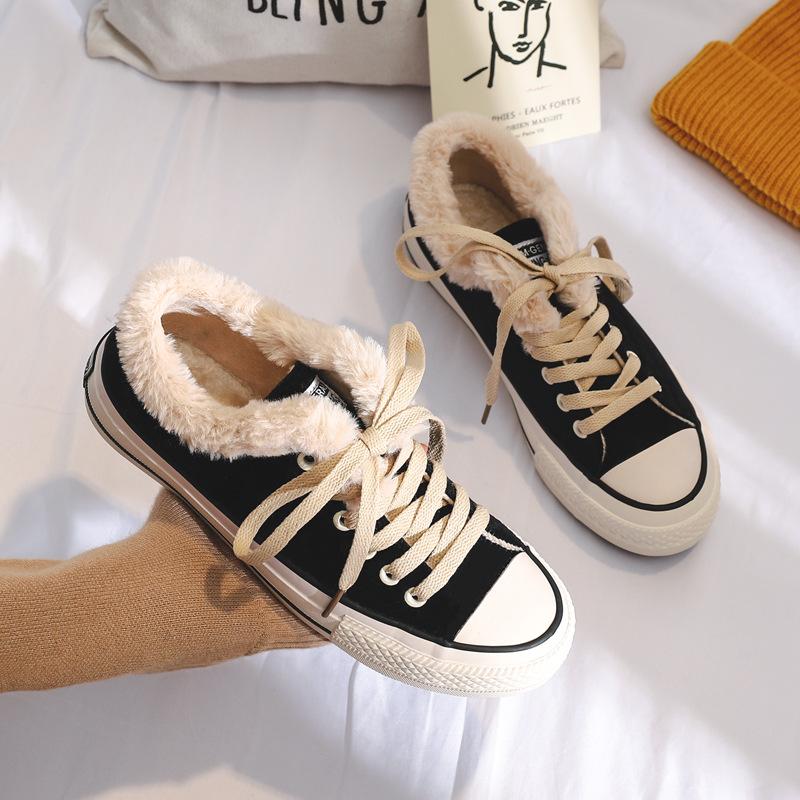 平底鞋 20新款2018冬季女士平底加绒棉鞋女学生小白鞋系带帆布鞋保暖棉鞋_推荐淘宝好看的女平底鞋