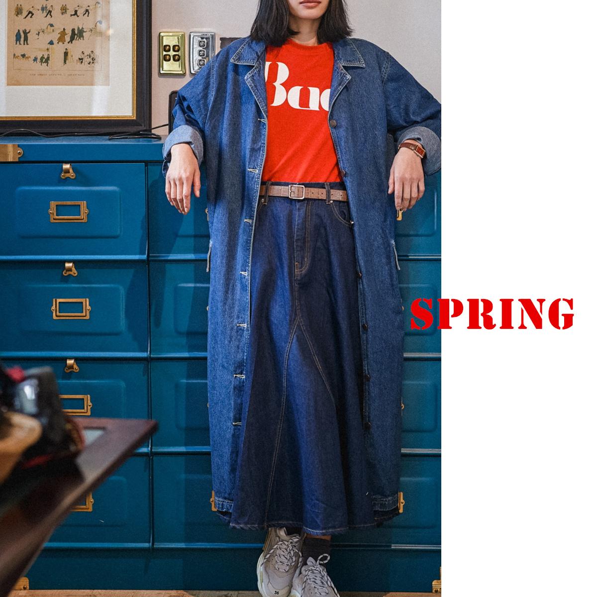 风衣外套 原创古着oversize牛仔风衣超长及踝西装领金属排口外套减龄少女春_推荐淘宝好看的女风衣外套