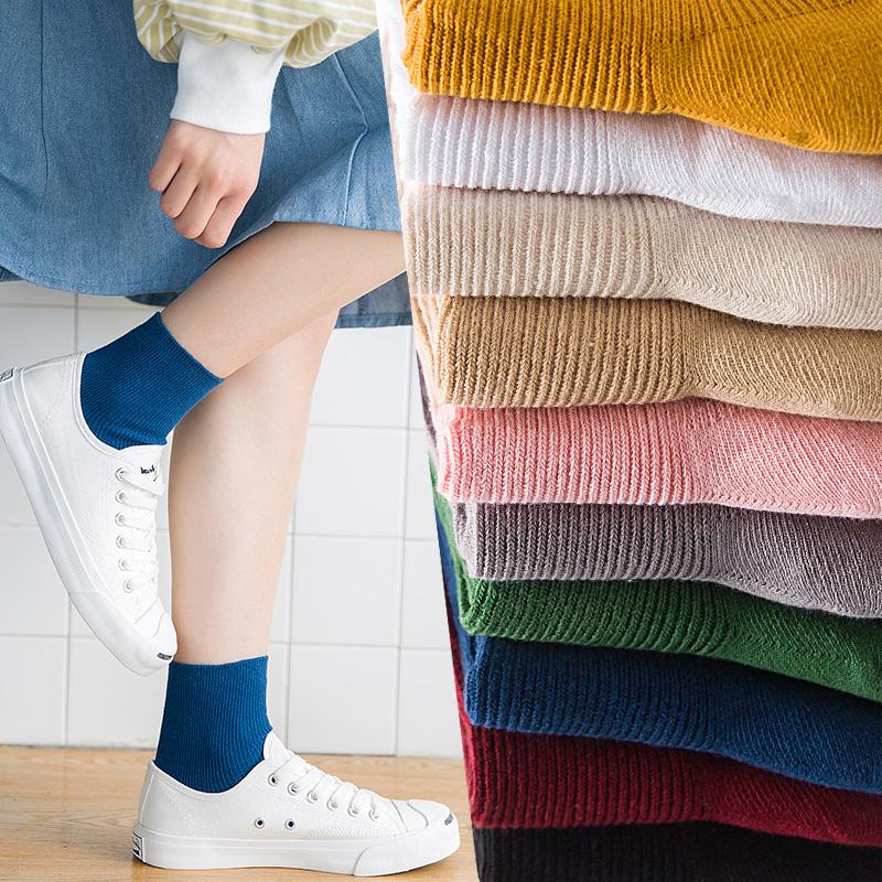 紫色凉鞋 ins网红凉鞋袜子女夏季薄款宝蓝色紫色中筒潮韩版学院风彩色短袜_推荐淘宝好看的紫色凉鞋