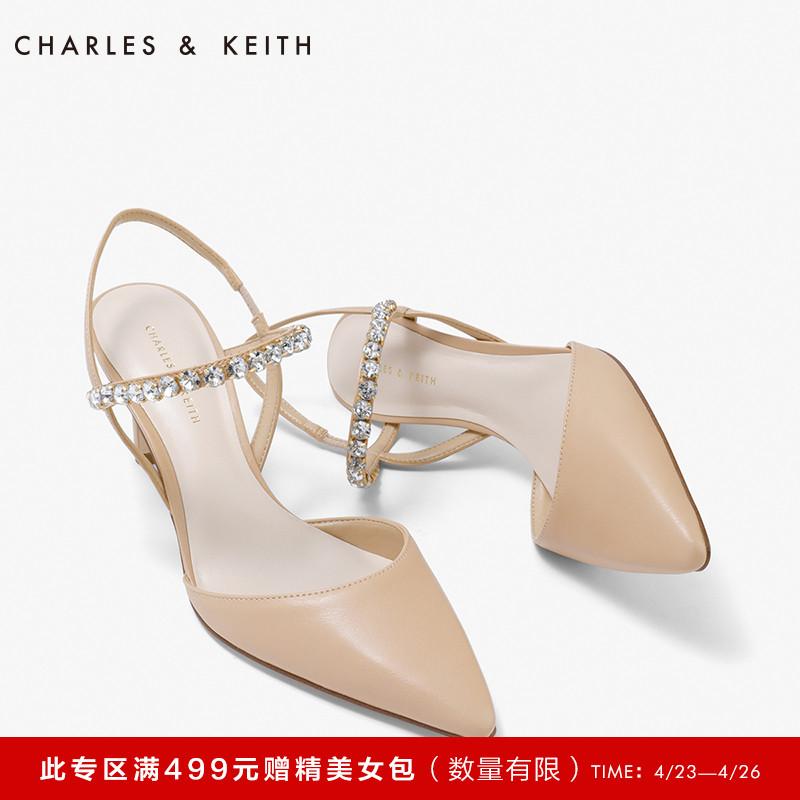 尖头高跟单鞋 CHARLES&KEITH春夏单鞋女CK1-60361078水钻尖头一字带细高跟鞋_推荐淘宝好看的女尖头高跟单鞋