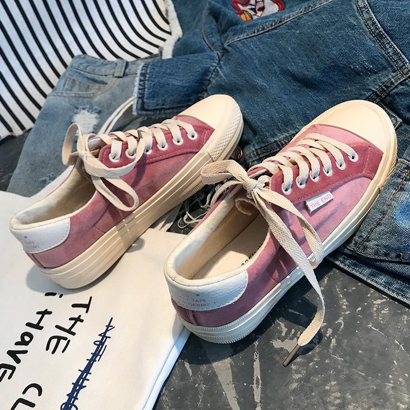 粉红色帆布鞋 2018粉色学生粉红色帆布鞋女韩版ulzzang板鞋ins超火糖果色原宿潮_推荐淘宝好看的粉红色帆布鞋