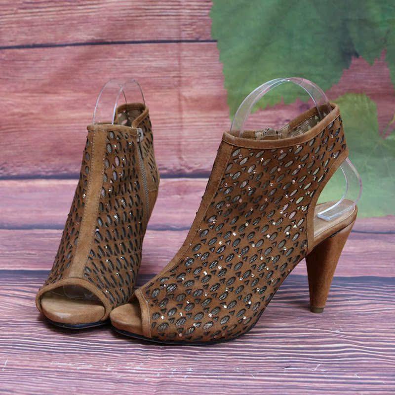 镂空罗马鞋 女凉鞋凉靴子时尚女鞋鱼嘴镂空透气女士凉鞋罗马通勤鞋潮鞋C34-3_推荐淘宝好看的镂空罗马鞋