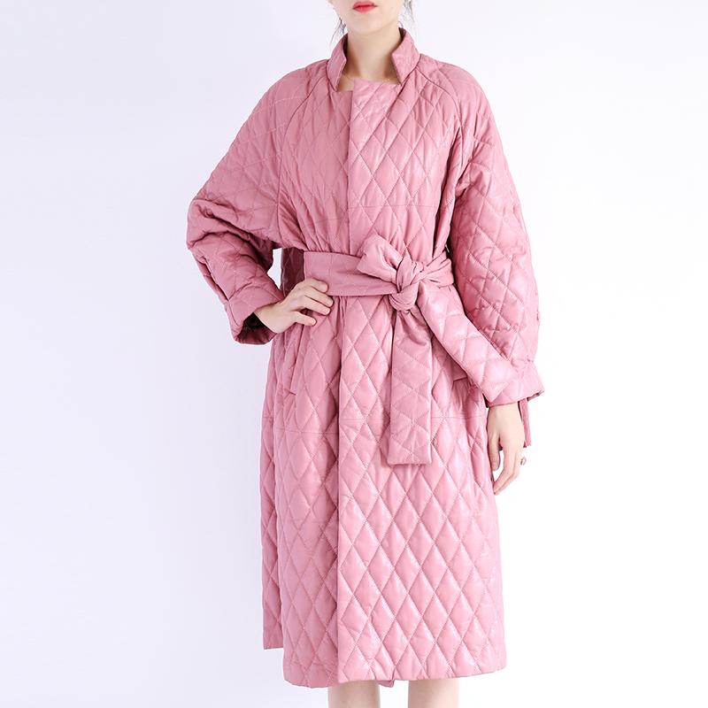 真皮皮衣 冬季女装韩版廓形真皮羊皮菱形格睡衣风皮衣宽松系带长款外套大衣_推荐淘宝好看的女真皮皮衣