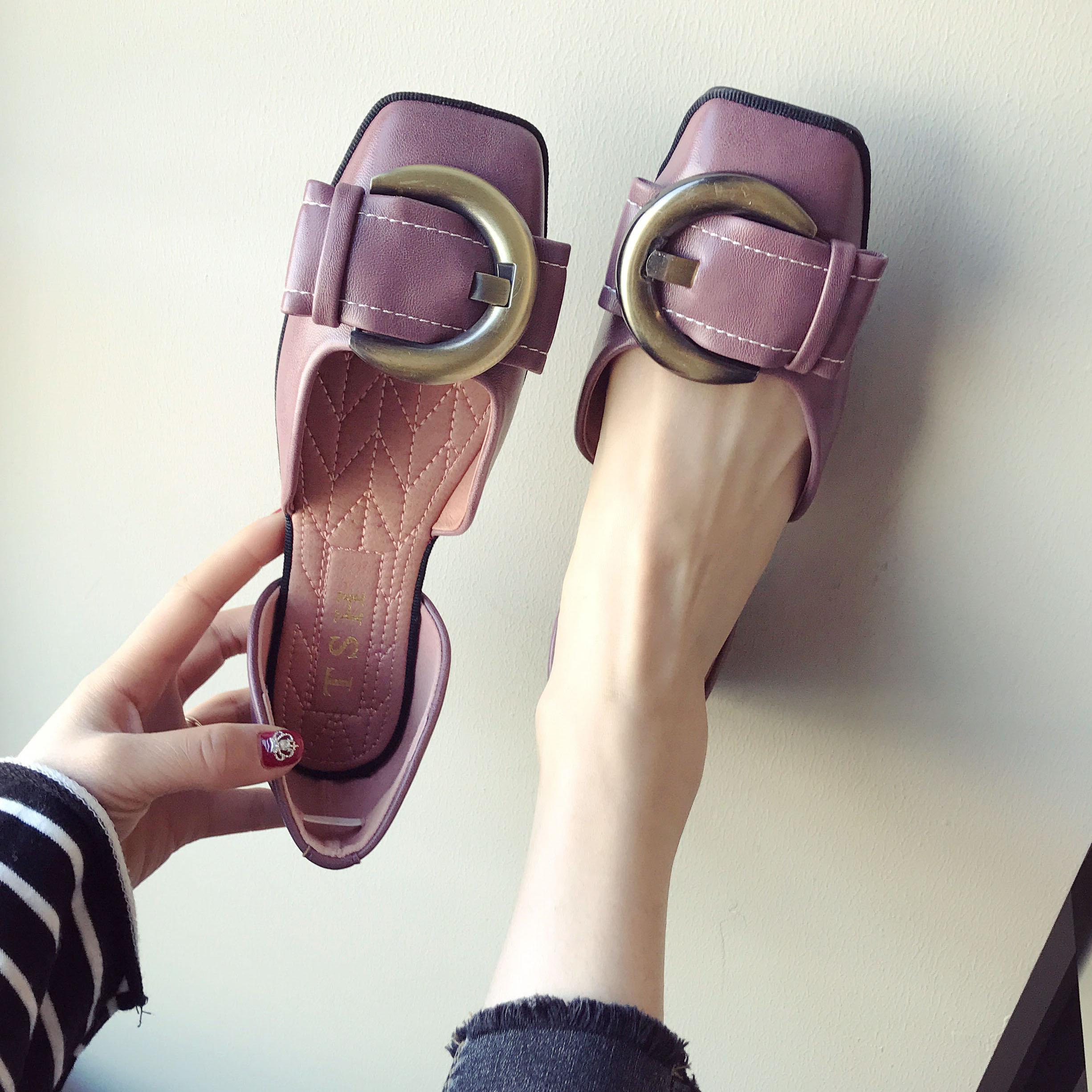 紫色单鞋 超软超舒适中空方头单鞋女浅口鞋紫色大女鞋欧美大牌2018新款瓢鞋_推荐淘宝好看的紫色单鞋