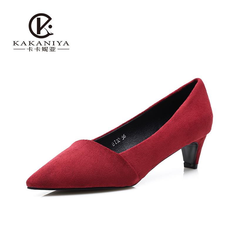 单鞋 特价促销 粗跟单鞋女中跟绒面尖头鞋ol简约百搭鞋女_推荐淘宝好看的女单鞋