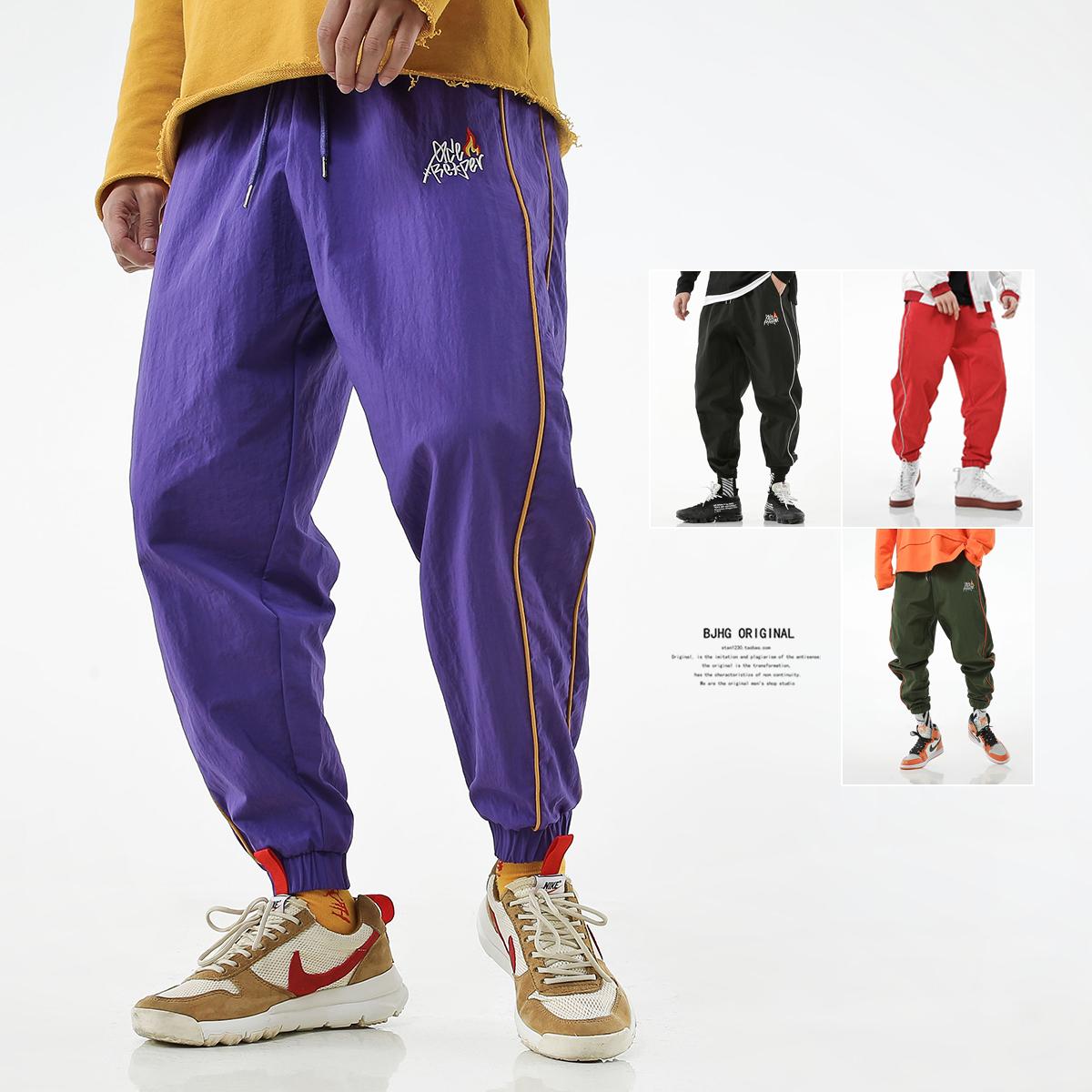 紫色休闲裤 BJHG夏欧美街头嘻哈宽松hiphop条纹紫休闲小脚裤子潮男运动束脚裤_推荐淘宝好看的紫色休闲裤