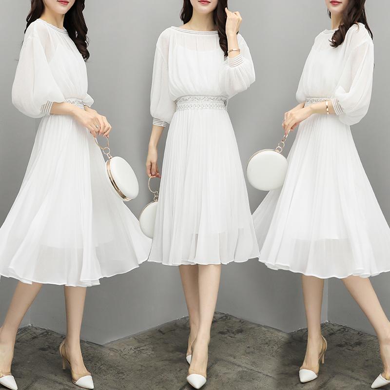 白色蕾丝连衣裙 白色雪纺百褶裙重工钉珠蕾丝花边一字领灯笼袖中长款名媛连衣裙夏_推荐淘宝好看的白色蕾丝连衣裙