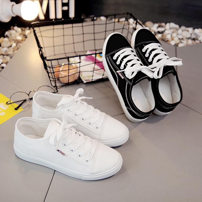 白色帆布鞋 夏港风街拍帆布鞋女鞋平底学生休闲鞋韩版百搭小白鞋原宿白色板鞋_推荐淘宝好看的白色帆布鞋