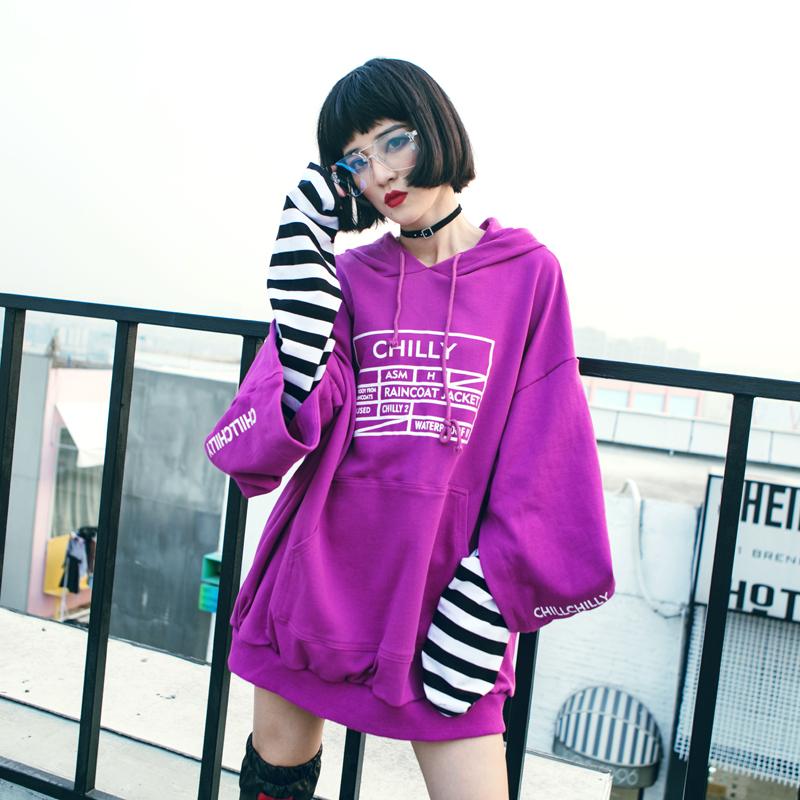 紫色卫衣 2018春装新款港风潮牌条纹拼接假两件连帽套头oversize卫衣女_推荐淘宝好看的紫色卫衣