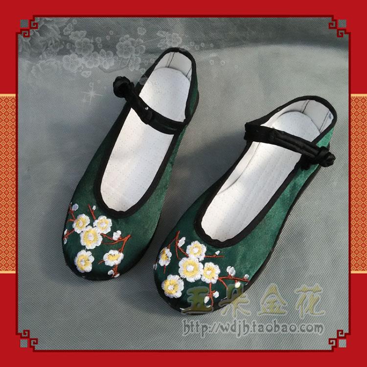 绿色坡跟鞋 五朵金花云南绣花鞋民族风女鞋坡跟跳舞鞋墨绿色绸缎机绣一剪梅_推荐淘宝好看的绿色坡跟鞋