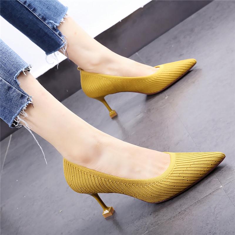 黄色高跟鞋 黄色少女高跟鞋19春新款韩版通勤尖头针织面细跟猫跟百搭单鞋7cm_推荐淘宝好看的黄色高跟鞋