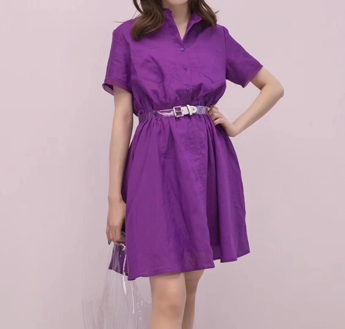 紫色连衣裙 VIP W正品韩版立领单排扣收腰纯色天丝麻中长连衣裙衬衫裙女5681_推荐淘宝好看的紫色连衣裙