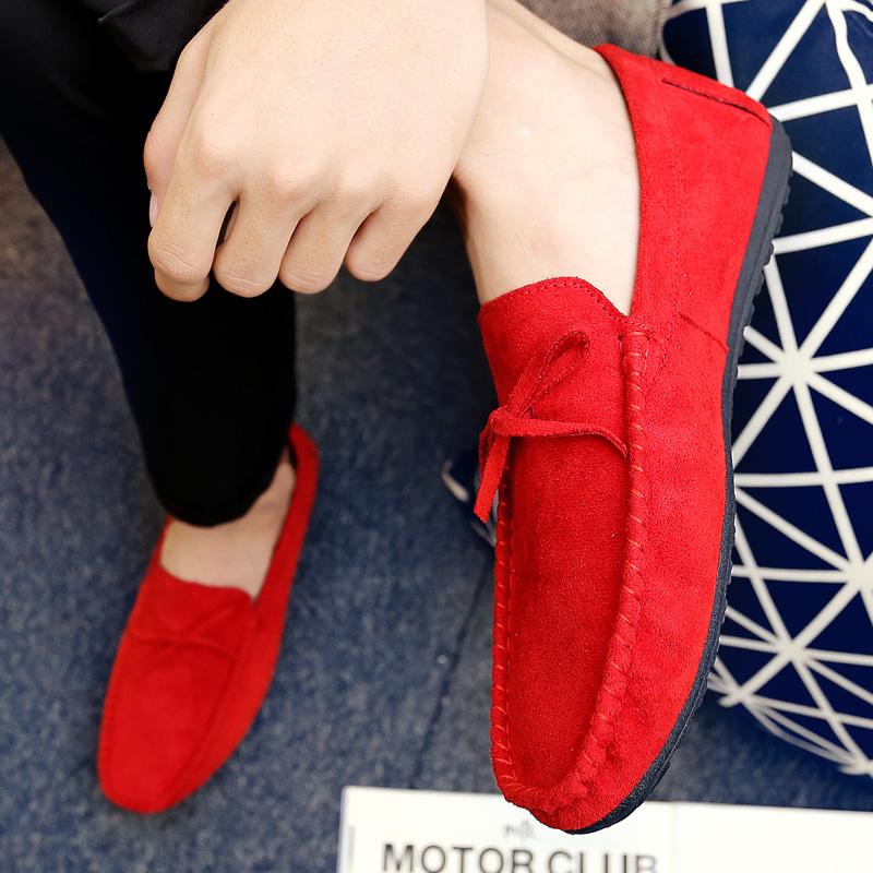 红色豆豆鞋 快手红人同款红色豆豆鞋男韩版潮流百搭个性精神社会小伙鞋子男鞋_推荐淘宝好看的红色豆豆鞋