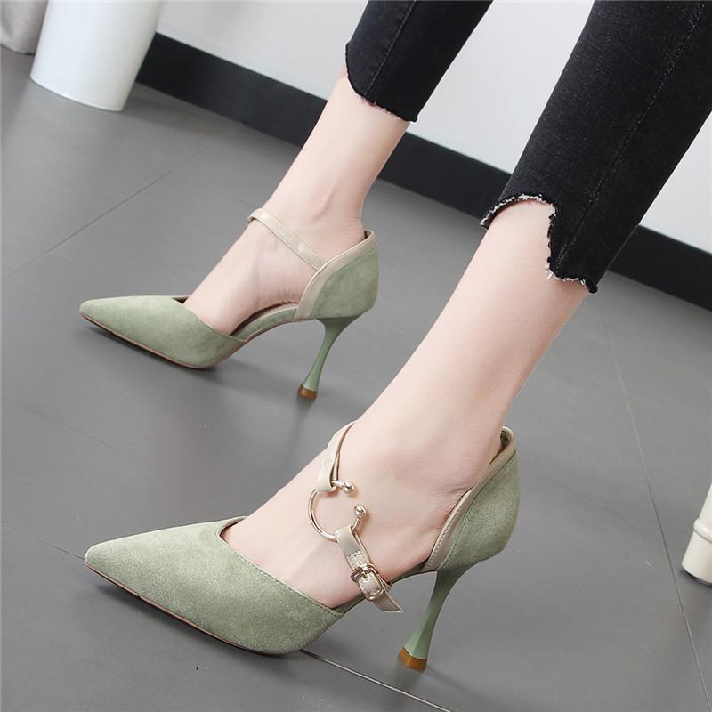 绿色高跟鞋 2018春夏新款尖头绒面黑色一字扣时尚百搭单鞋绿色浅口少女高跟鞋_推荐淘宝好看的绿色高跟鞋