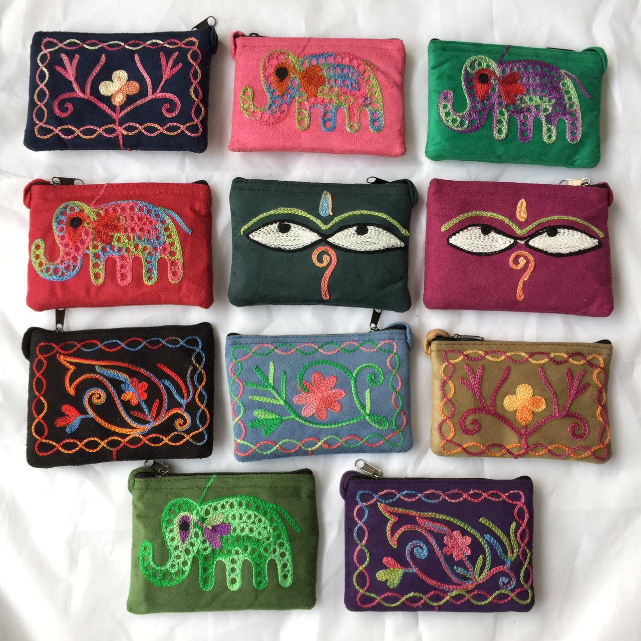 紫色钱包 包邮尼泊尔手工刺绣麂皮民族风迷你零钱包钱袋卡包短款布艺硬币包_推荐淘宝好看的紫色钱包