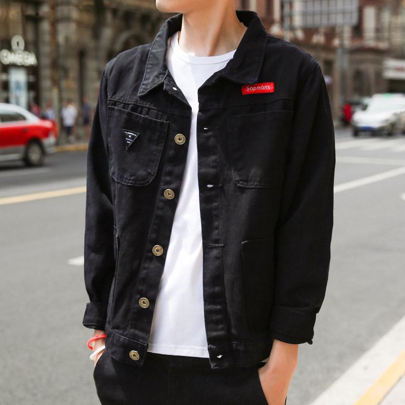 外套夹克 春秋新款韩版修身黑色薄款牛仔外套男青年帅气潮流工装夹克外套_推荐淘宝好看的男外套夹克