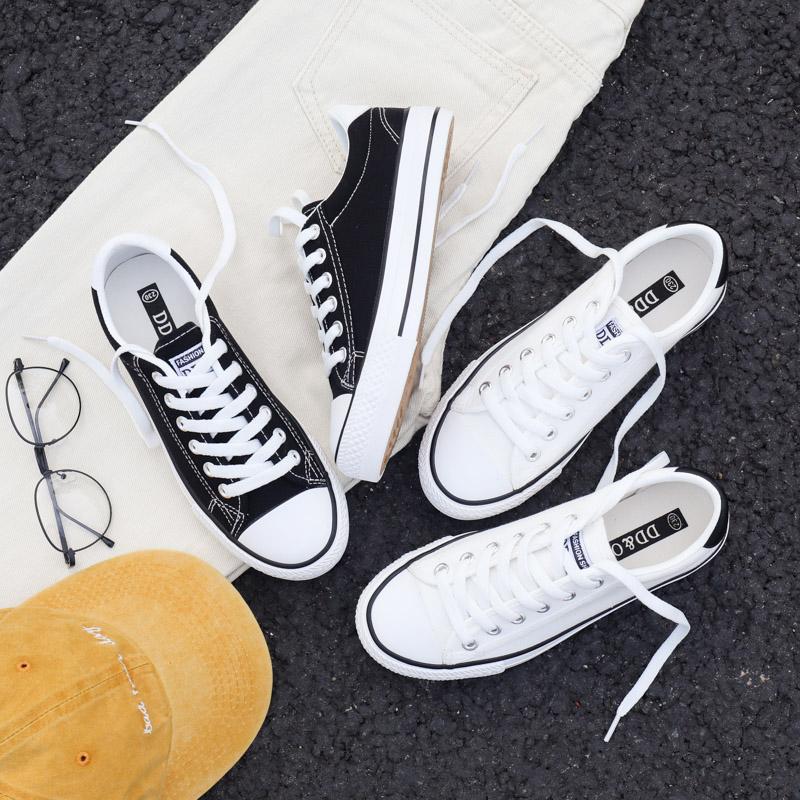 黑色帆布鞋 小世学长经典黑色帆布鞋女2018新款学生韩版布鞋百搭板鞋小黑鞋子_推荐淘宝好看的黑色帆布鞋