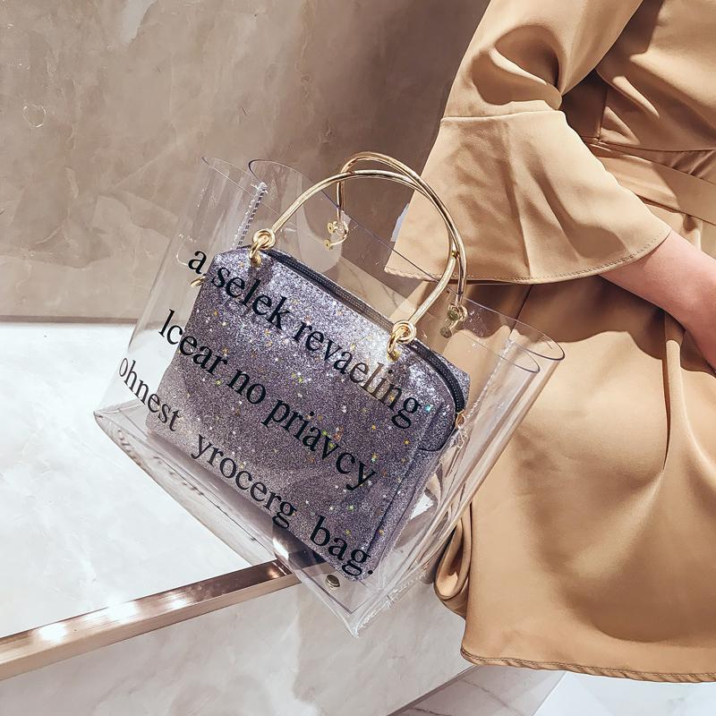 女式链条包 包包女2018新款韩版百搭手提包单肩包彩虹透明果冻包子母包链条包_推荐淘宝好看的女女链条包