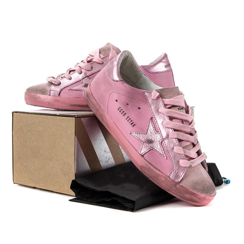 粉红色单鞋 Goldeggdb新款粉红色星星运动鞋休闲系带女鞋真皮单鞋做旧小脏鞋_推荐淘宝好看的粉红色单鞋