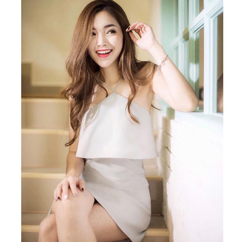 白色修身连衣裙 泰国潮牌夏季新款时尚性感chic聚会挂脖吊带修身白色派对连衣裙美_推荐淘宝好看的白色修身连衣裙