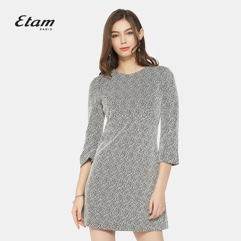 艾格连衣裙 艾格Etam 春秋格纹短款七分袖连衣裙8A012200661_推荐淘宝好看的艾格连衣裙