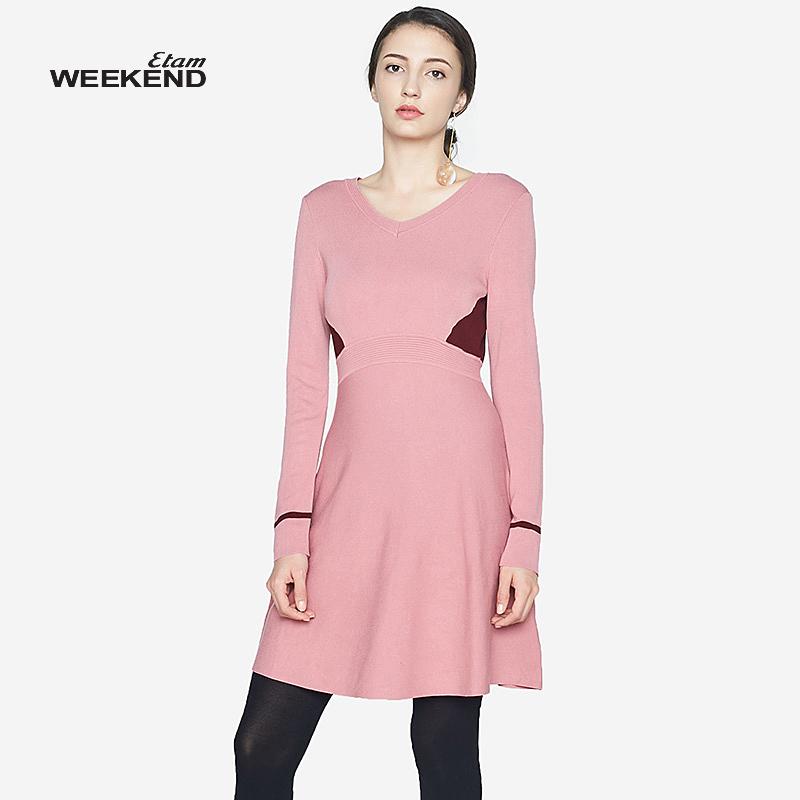 艾格连衣裙 艾格Etam2017冬季简约个性拼接针织连衣裙8A012204581_推荐淘宝好看的艾格连衣裙