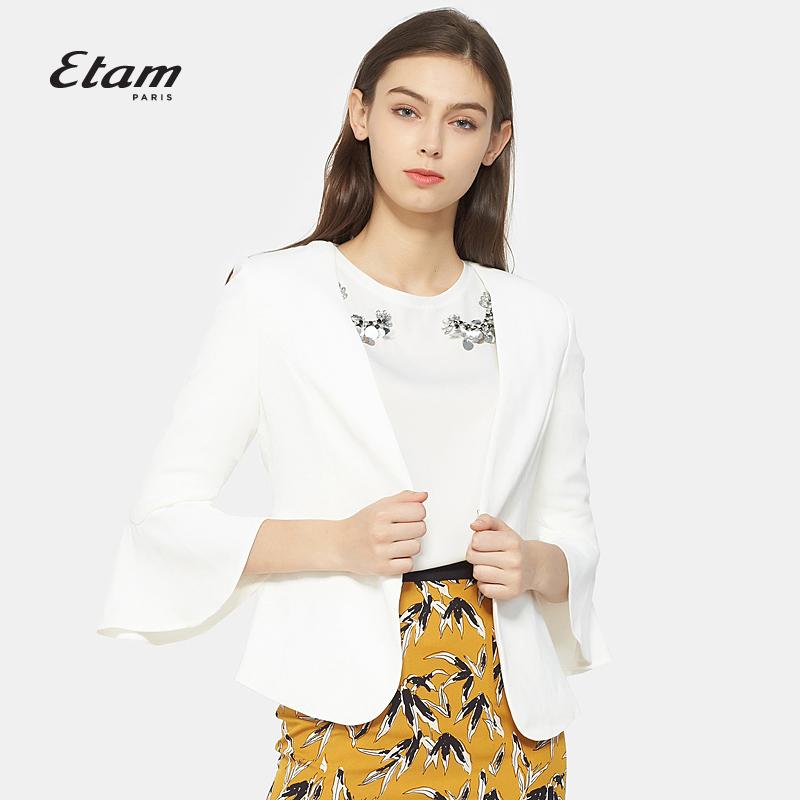 艾格服饰 艾格Etam简约时尚荷叶边喇叭袖外套女8A012101386_推荐淘宝好看的艾格女