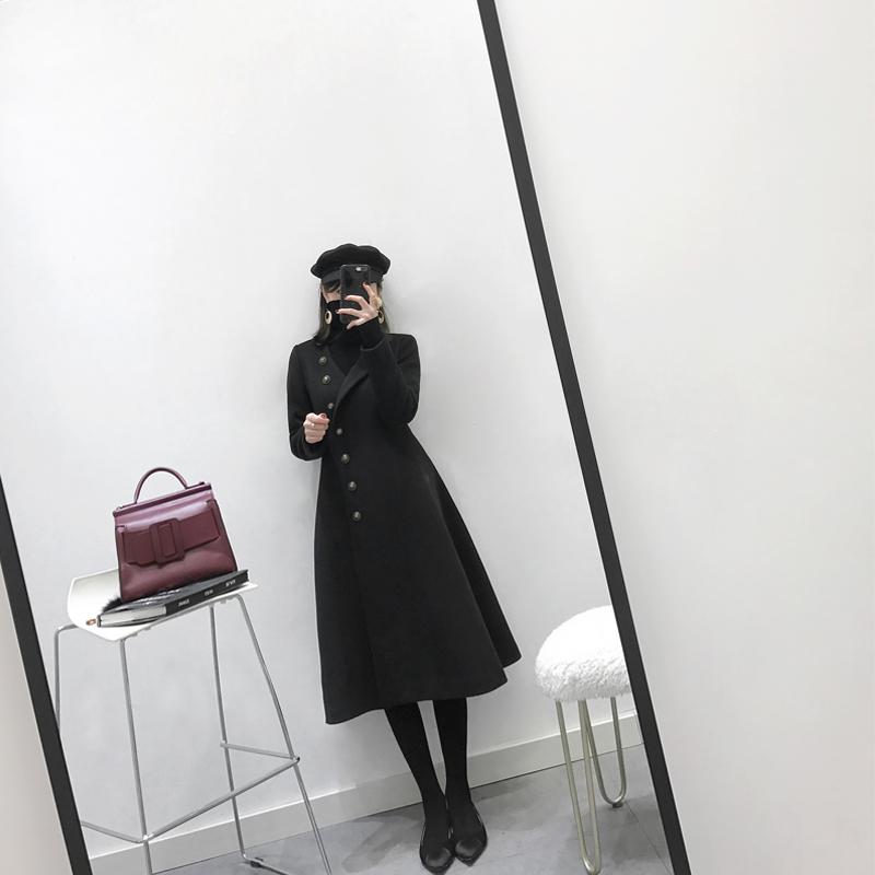 毛呢韩版外套 MUKOK黑色呢子大衣女中长款韩版2018新款冬时尚修身显瘦毛呢外套_推荐淘宝好看的女毛呢韩版外套