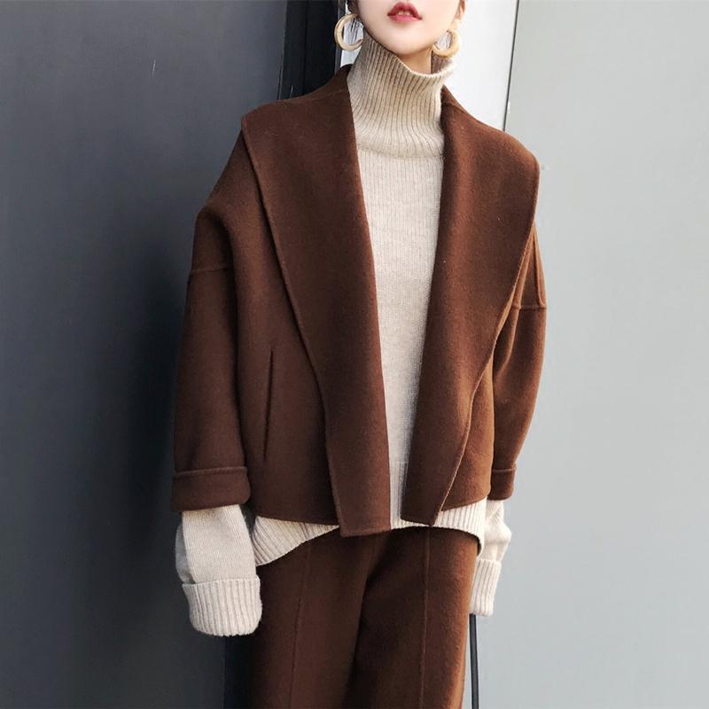 套装 MMCO2018流行手工双面羊毛呢子大衣短款外套宽松套装女装两件套_推荐淘宝好看的套装