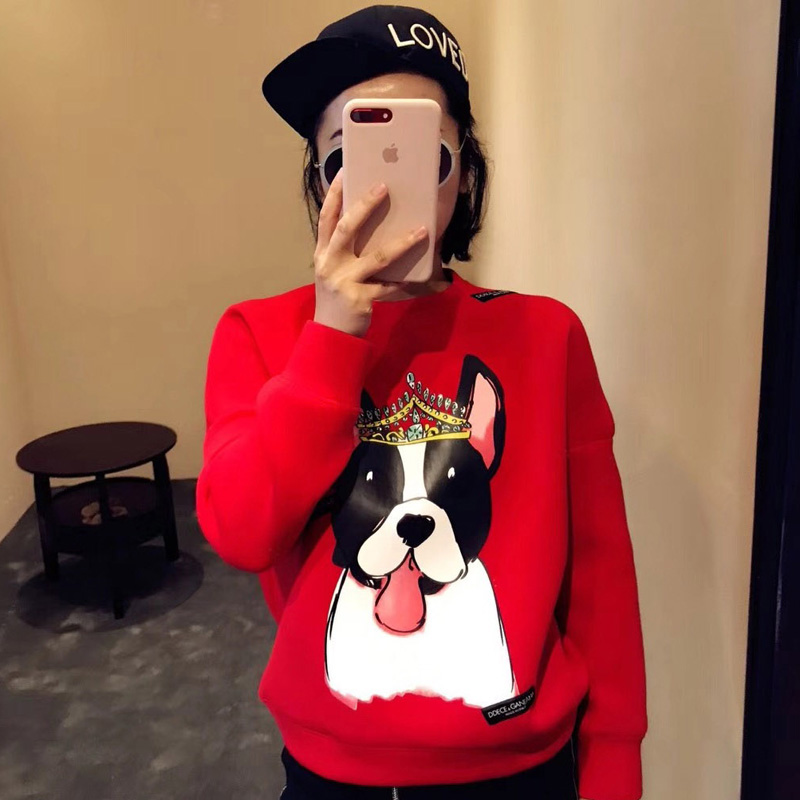 红色卫衣 冬季新年圣诞红圆领套头宽松显瘦印花皇冠狗休闲太空棉卫衣女 潮_推荐淘宝好看的红色卫衣