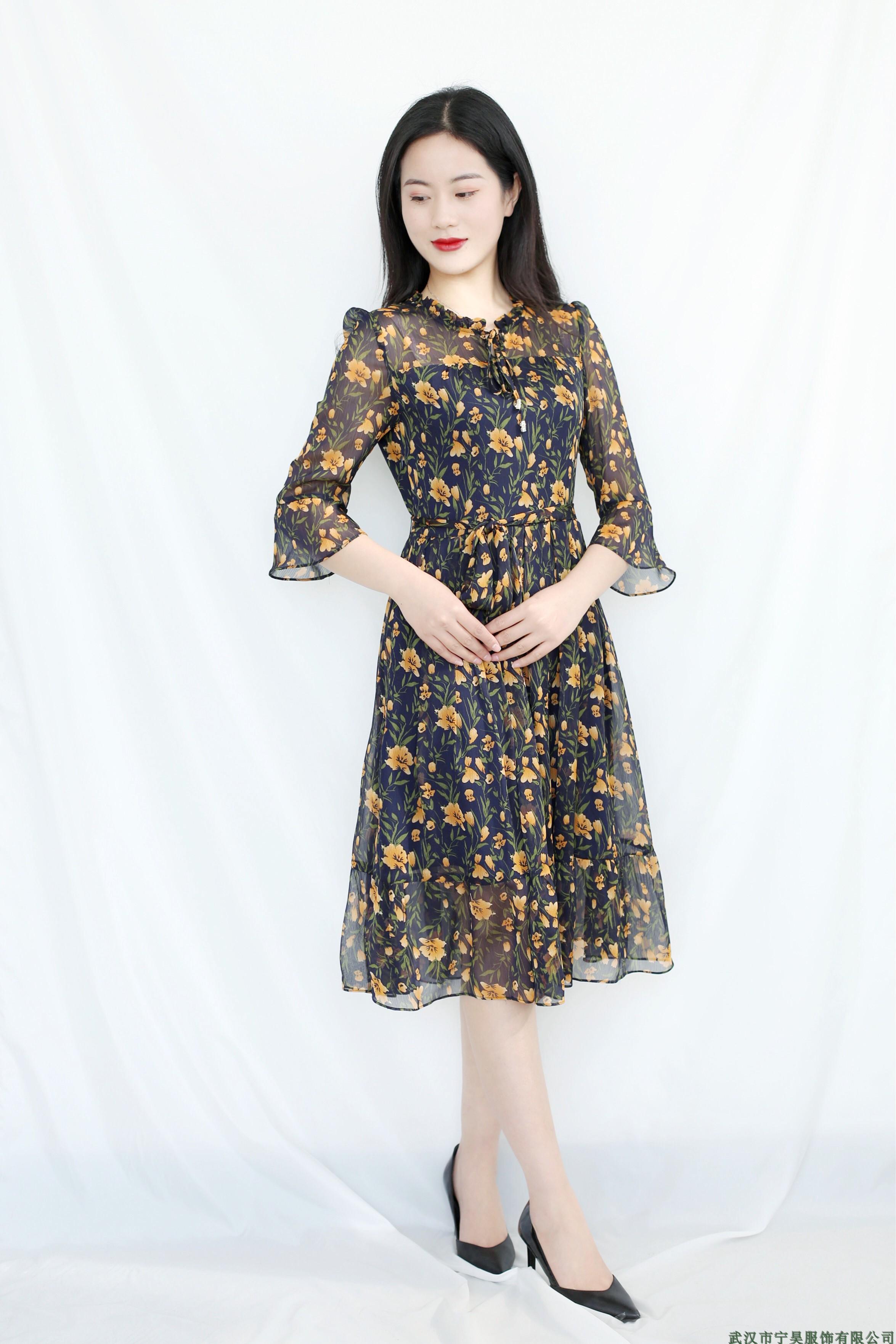 黄色连衣裙 三蕊国际加莱尼SR91A-3331时尚真丝皱雪纺花色连衣裙2018春季女_推荐淘宝好看的黄色连衣裙