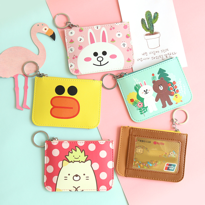 粉红色钱包 韩国ins卡通零钱包女可爱布朗熊一卡通卡包学生个性创意硬币包_推荐淘宝好看的粉红色钱包