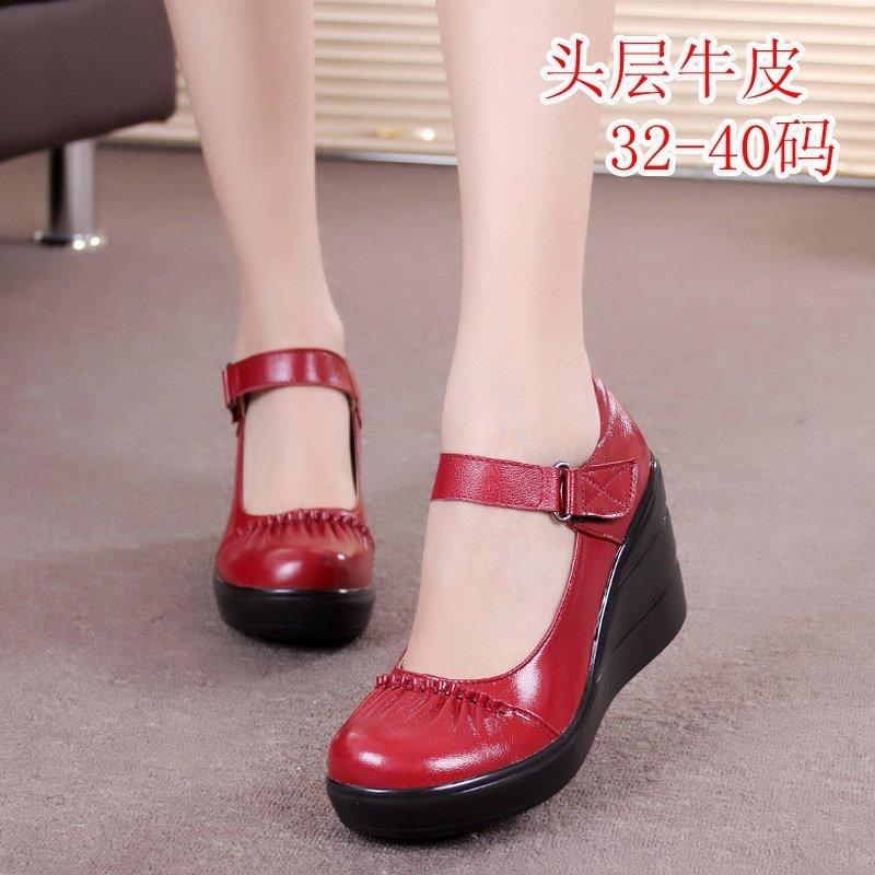 红色松糕鞋 小码32 33女鞋单鞋真皮松糕厚底魔术贴坡跟防水台高跟鞋红色婚鞋_推荐淘宝好看的红色松糕鞋