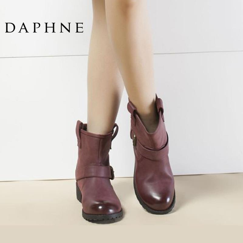 圆头短靴 Daphne达芙妮专柜正品女靴冬款 时尚中跟方跟圆头英伦女短靴_推荐淘宝好看的女圆头短靴
