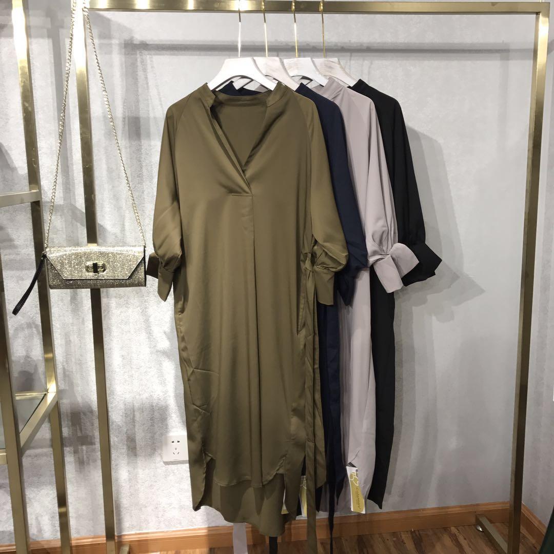 黑色连衣裙 V领纯色收腰连衣裙927_推荐淘宝好看的黑色连衣裙