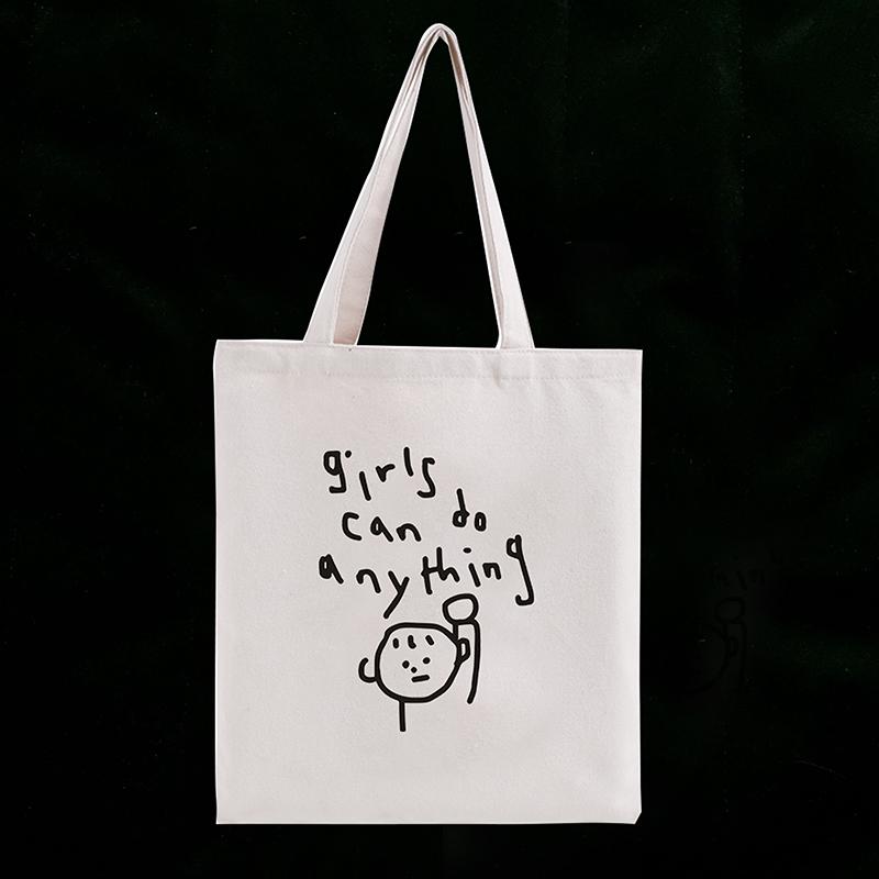 单肩包 ins小众图案girls can do anything简笔画 单肩帆布袋女 chic布包_推荐淘宝好看的女单肩包