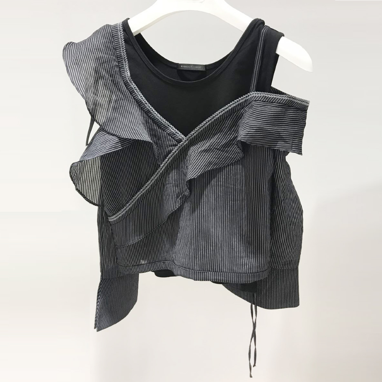 衬衫 新尚 圣迪奥2018夏装新款不规则荷叶袖女上衣竖条纹衬衫S18281504_推荐淘宝好看的女衬衫