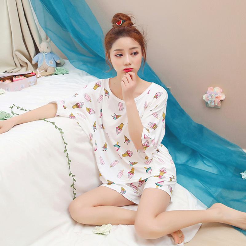 睡衣 2018新款夏季韩版牛奶丝短袖女士睡衣学生甜美印花圆领家居服套装_推荐淘宝好看的女睡衣