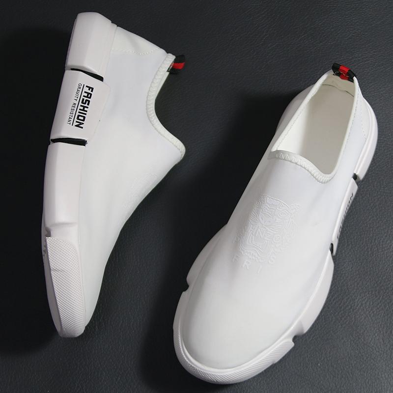 白色帆布鞋 白色布面鞋一脚蹬男鞋夏季潮鞋透气小白鞋男帆布鞋韩版休闲懒人鞋_推荐淘宝好看的白色帆布鞋