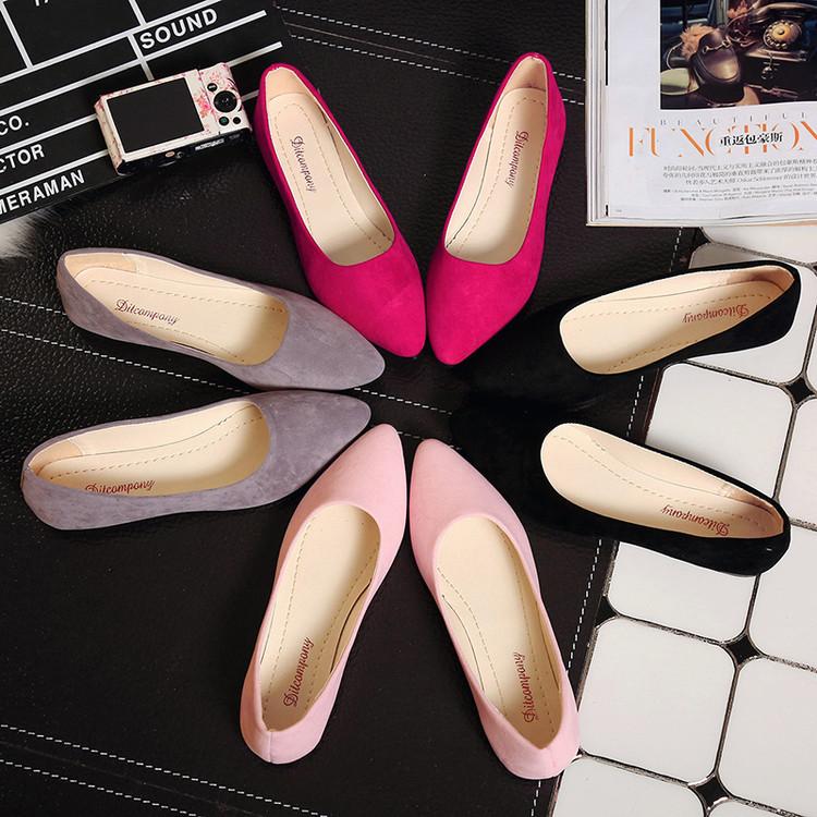 尖头鞋 2018女夏季新品套脚懒人豆豆单鞋平跟休闲舒适女鞋尖头浅口工作鞋_推荐淘宝好看的女尖头鞋