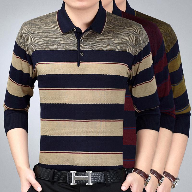 男士长袖针织衫 40几中年人翻领T恤50多长袖男装春季60岁中老年针织衫汗衫男人穿_推荐淘宝好看的男长袖针织衫