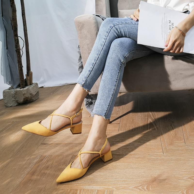 黄色高跟鞋 2019新款姜黄色尖头交叉绑带单鞋女中跟百搭仙女风法式少女高跟鞋_推荐淘宝好看的黄色高跟鞋