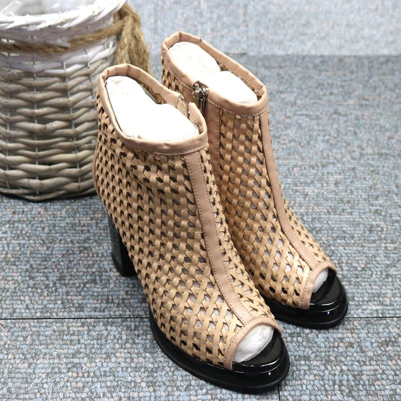 粗跟鱼嘴鞋 欧美潮 鱼嘴真皮编织侧拉粗跟女凉鞋 凉靴_推荐淘宝好看的女粗跟鱼嘴鞋
