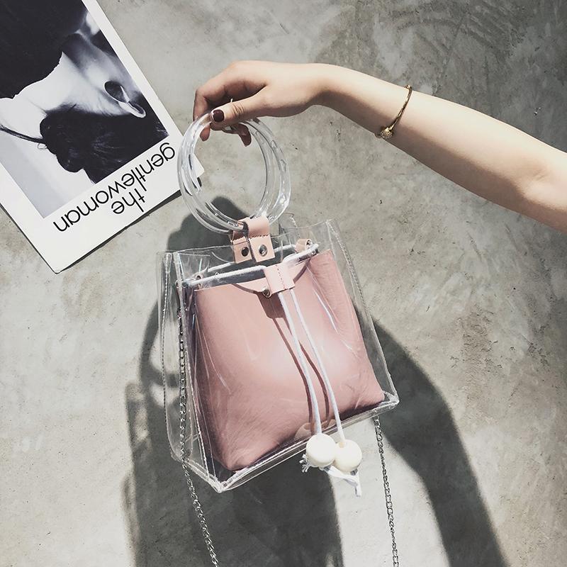 白色斜挎包 包包女2018春夏新款塑料透明水桶包女包时尚简约手提包斜挎子母包_推荐淘宝好看的白色斜挎包